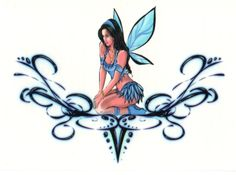 Blue Fairy Lower Back Sexy Tattoos For Girls, Girl Tattoos, Tatoos, Tattoo Hada, Blue Fairy, Fairy Land, Fairy Drawings, Leg Sleeve Tattoo, Fairy Tattoo Designs