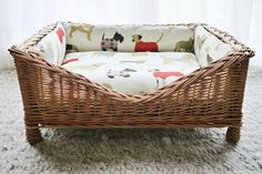 The Man's Best Friend Raised Wicker Dog Bed - beautiful basket, super-squidgy bed bumpers and a deep-filled luxury mattress - perfect!