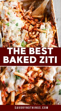 With a homemade meat sauce, a creamy layer and plenty of cheese, this Baked Ziti pasta casserole is one of those meals you'll want to make again and again! It's easy to prep ahead and reheat - and it freezes really well, too. | #casserole #recipe #dinner #makeahead #freezermeal Baked Ziti With Sausage, Homemade Meat Sauce, Creamy Layer, Pasta Casserole, Delicious Dinner Recipes, Freezer Meals, It's Easy, Dinner Ideas, The Best