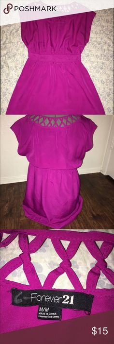 Short Magenta Forever 21 Dress Used magenta (mix of purple and pink) dress with a cinched elastic waist, criss-cross detail across the neckline, and a slip underneath. Forever 21 Dresses Mini