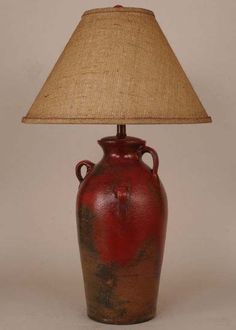 Fire Brick Rustic Lamp Western Lamps - Ceramic base in aged fire brick finish with rustic burlap shade. Made in the USA.
