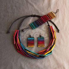 ZezeCraft&Design Rainbow Collection Set 01 (ZCDRCS01) #recycle #jewelleryset #lgbti #paperbead #zezecraftdesign