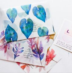 8 pcs/pack Song of Fallen Leaves Dull Polish Translucent Envelope Message Card Letter Stationary Storage Paper Gift
