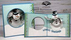 KarenBurniston using the Katherine Label Pop-up, Snowman Circle Pop-up, Nature Edges and Word Set 3 die sets from karenburniston.com