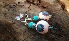 Orecchini perle bianco turchese viola fimo pasta polimerica pendenti argento 925, by Evangela Fairy Jewelry, 8,00 € su misshobby.com