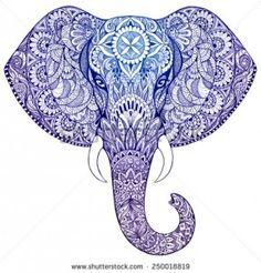 Beautiful Hand-Painted Elephant with Ornament Mandala Tattoo