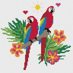 Ideas Embroidery Modern Pattern Colour For 2019 Cute Cross Stitch, Cross Stitch Bird, Cross Stitching, Cross Stitch Embroidery, Simple Embroidery Designs, Embroidery Patterns, Modern Embroidery, Modern Cross Stitch Patterns, Cross Stitch Designs