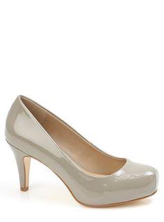 Grey Twin Seam Toe Court Shoe