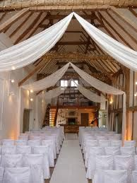 Dove Barn (Barn / oasthouse / farm) wedding venue in sudbury, Suffolk Unusual Wedding Venues, Barn Wedding Venue, Tent Wedding, Farm Wedding, Tulle Wedding, Wedding Reception, Wedding Stuff, Ceiling Draping, Ceiling Decor