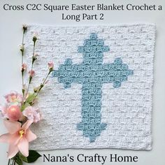 Free crochet pattern for a Cross square part of the Easter Blanket Graphgan Crochet a Long (CAL). Simple and elegant Easter home decor! Made with Caron Simply Soft this square would look lovely on its own as a wall hanging or as a pillow! Free Crochet Square, C2c Crochet, Crochet Quilt, Crochet Cross, Crochet Squares, Crochet Home, Crochet Blankets, Granny Squares, Crochet Afghans