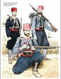 L to R Reservist, Regular Line Infantry & Light Infantry, Russo Turkish War 1877 from Osprey MAA 277 Military Art, Military History, Military Uniforms, Military Diorama, Old Warrior, Ottoman Turks, Islam, Military Drawings, Turkish Army