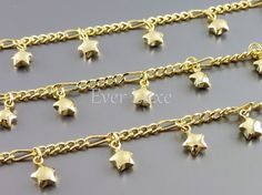 1 FOOT unique chain with star charms, gold metal chains, jewelry jewellery making supplies B074-BG (bright gold, 1FT)