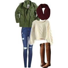anorak jacket military jacket white sweater knit sweater red scarf burgundy scarf riding boots ripped jeans polyvore outfit style teen fashion women fashion cute