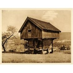 1932 Heddal Telemark Storehouse Food Storage Norway - Original Photogravure