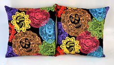 14x14 Papel Bonito Sugar Skulls & Polka Dot Pillow Set, Day of the Dead - SOLD Sabbie's Purses and More