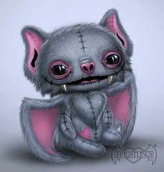 Bon fire Frightlings t Bon fire Gothic art and Dark art Animal Drawings, Cute Drawings, Art Sinistre, Art Noir, Art Mignon, Cute Bat, Sugar Skull Art, Goth Art, Creepy Art