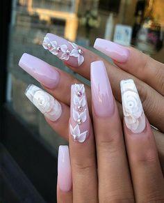 Orange nails, glitter nails, pointy nails, coffin nails, acrylic na Summer Acrylic Nails, Best Acrylic Nails, Summer Nails, 3d Flower Nails, 3d Nail Designs, Nails Design With Rhinestones, Fire Nails, Ballerina Nails, Luxury Nails