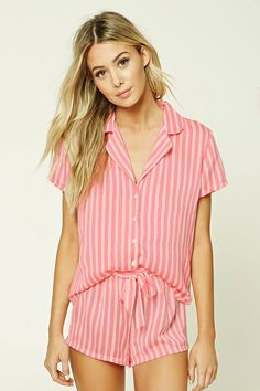 A woven striped PJ set featuring a shirt with a basic collar, a buttoned front, and short sleeves, as well as a pair of shorts with an elasticized waist with a self-tie accent.