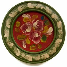 Vintage Tole Painted Wood Plate Germany