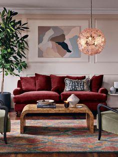 Audrey 3-Seater Sofa, Velvet Burgundy - Soho Home Burgundy Couch, Burgundy Decor, Burgundy Living Room, Burgundy Walls, Red Couch Living Room, Boho Living Room, Living Room Decor, 1940s Living Room, Living Rooms