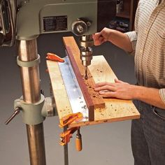 Add an adjustable fence to a drill press to make it a lot handier for woodworking projects! A fence is useful for drilling rows of precisely placed holes.