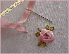 bordado com fitas - botão de rosa simples de fazer