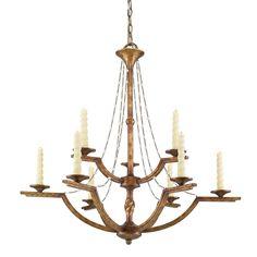 Golden Lighting Athena Collection Goldtone 2-tier 9-light Chandelier (Grecian Gold) (Steel)