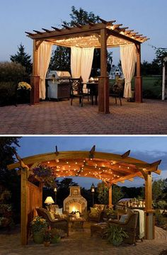 get curtains for pergola? string lights for pergola Outdoor Pergola, Wooden Pergola, Outdoor Rooms, Backyard Patio, Backyard Landscaping, Outdoor Gardens, Outdoor Living, Pergola Kits, Pergola Lighting