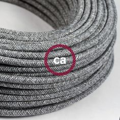 Round Electric Cable covered by Natural Grey Linen RN02