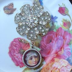 Ruffled Flower Rhinestone Brooch Memory by MoniquesBijouxStudio