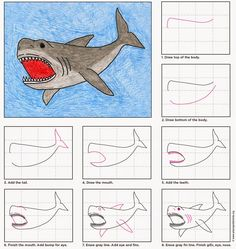 Draw a Megalodon Shark · Art Projects for Kids - Art Projects for Kids: Draw a Megalodon Shark The Effective Pictures We Offer You About kids toys - Drawing Projects, Art Projects, Drawing For Kids, Art For Kids, Shark Drawing Easy, Kid Art, Desenhos Van Gogh, Shark Art, Drawing Sheet