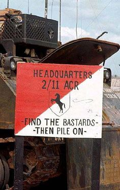 A sign at the 2nd Squadron (one of three squadrons) of the 11th ACR or in military short hand 2/11.