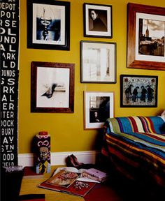 Mustard Yellow Wall...thinking of this colour for the laundry...with a retro wall papered door