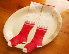 Antique Swiss Sock PAIR Red & WHite Bright by theprimitivehome