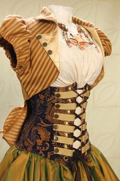 Striped short puff sleeve bolero, shabby chic steampunk in green and browns. Underbust corset.