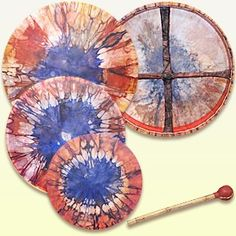 Tie Dye Shaman Drum w/ handle and drum beater