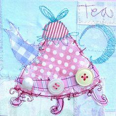 Teapot by priscillajones, freestyle machine embroidery plus rough edge applique - love it!