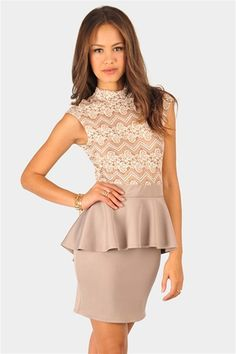 Meeghan Lace Dress - Taupe