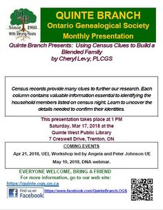 "March 2018 presentation: ""Using Census Clues"" Website Menu, Presentation Topics, Service Awards, Dna Test, Family History, Research, Genealogy, Ontario, March"