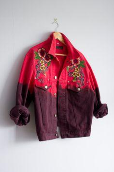 Bleach dye denim jacket festival clothing 90s by Thriftionary