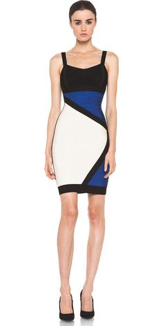 b222d7571a97 Reona Colorblocked Bandage Dress Blue Only  218.90 V-neck. Sleeveless. Body- con · Herve Leger ...