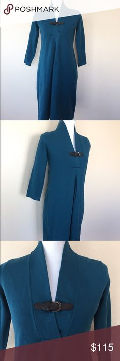 Tyler Boe Teal Vneck Buckle Sweater Shift Dress XS Brand new with tags Tyler Boe Dresses Long Sleeve