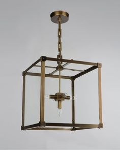 Hip to be square: the Marlowe 16 Lantern in an antique brass finish.