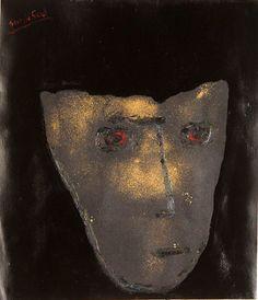 Self-portrait in the starry night, 2000, enamel, synthetic wax on shimmed paper 49x42 cm