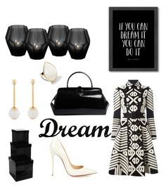"""black and white dream"" by marifimarina ❤ liked on Polyvore featuring Burberry, Americanflat, Christian Louboutin, Ippolita, Lele Sadoughi, Eichholtz, Pols Potten, Dot & Bo and Prada"