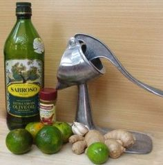 """The Liver Flush Daily Detox recipe:  Extra Virgin Olive Oil – anywhere from 2 Tbsp. to 1/3 cup, Freshly squeezed lemon or lime juice, 1/3 cup Fresh garlic, 3-5 cloves, Fresh 1/2"""" ginger,Cayenne Pepper, dash to taste  2 cups freshly squeezed orange juice,  Put all ingredients in a blender, blend and drink immediately. Think about all the good you are doing for your body!! Enjoy!"""