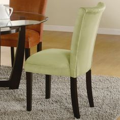 63% Off was $314.62, now is $114.95! Set of 2 Parson Dining Chairs Light Green Microfiber