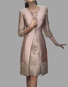 2015 Hot Sale  Mother Of The Bride Dress Knee Length Lace with Jackets For Evening Dresses Wedding Outfits Bride