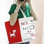 Casual Canvas Letter Animal Print Cute Totes Bag for Women DTH-319054