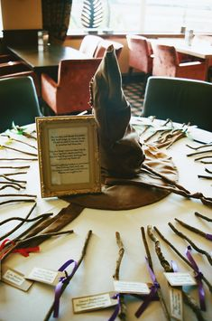 Sorting hat table plan with wand favours at this Scottish Harry Potter wedding on @offbeatbride